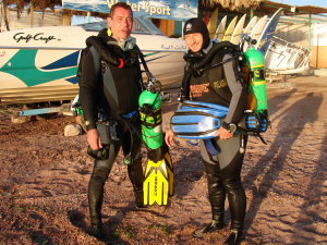 Habibeh George and Rod post dive in Aqaba