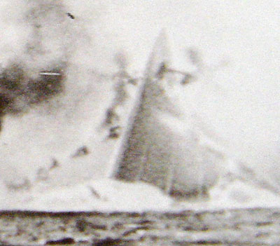 Victoria's upturned near vertical hull with spinning propellors